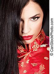 woman in red Cheongsam