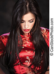 woman in red Cheongsam on dark background