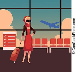 Pretty woman in red dress with suitcase