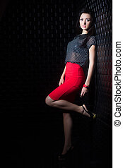 Pretty woman in red skirt