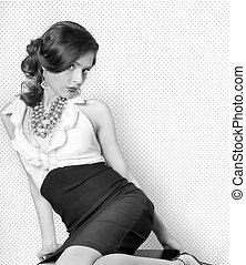 Pretty Woman in Retro Vintage Style