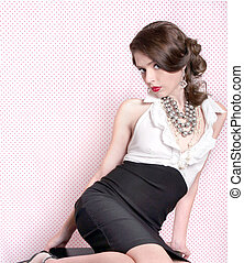 Pretty Woman in Retro Vintage Style - Lovely Woman Dressed...