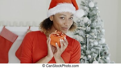 Pretty woman in Santa hat holding a gift