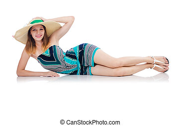 Pretty woman in summer clothing on vacation isolated on white
