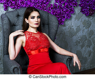 pretty woman in the chair