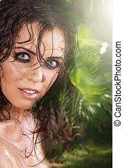 pretty woman in the jungle