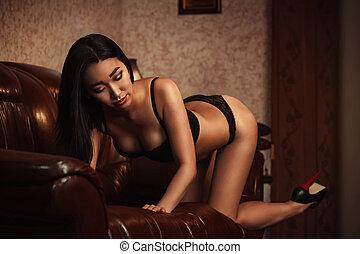 Pretty woman in underwear