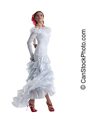 Pretty woman in white dress performing flamenco