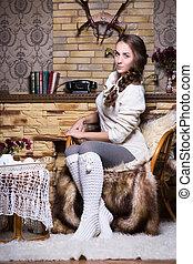 Pretty woman in white stockings