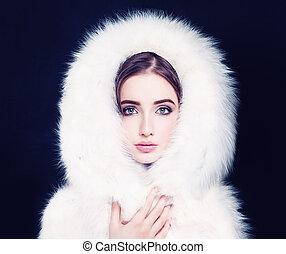 Pretty Woman in White Winter Fur
