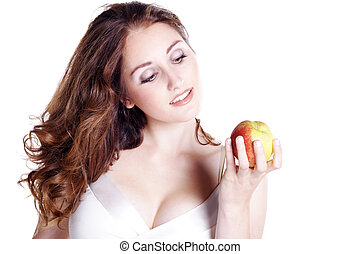 pretty woman loves apples