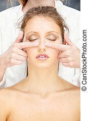 woman on head massage