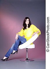 pretty woman on stool