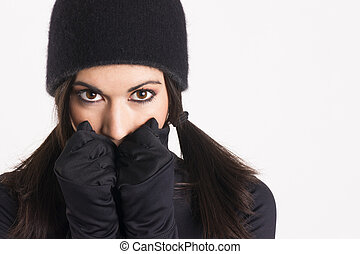 Pretty Woman Outlaw in Black Stealth Outfit Black Gloves Cap