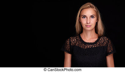 pretty woman over black background