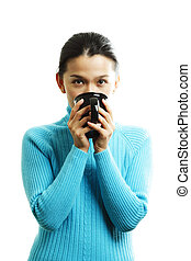 Pretty woman - A pretty woman holding a cup of hot drink