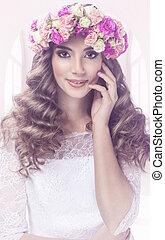 Pretty woman portrait with floral tiara