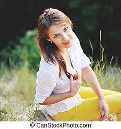Pretty woman posing.