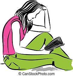 pretty woman reading a book illustration