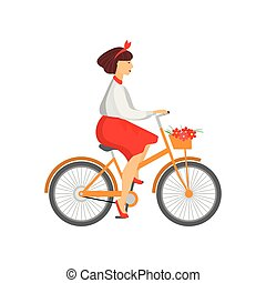 Pretty woman riding orange bicycle with flowers in basket isolated on white