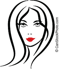 Pretty woman silhouette logo