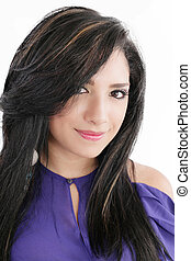 Pretty woman smiling against white background