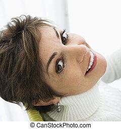 Pretty woman smiling.