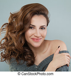 Pretty Woman Smiling. Woman with Red Curly Hair