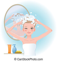 Pretty woman soaping her head