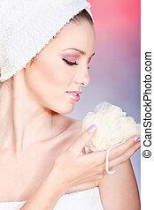skin care with sponge
