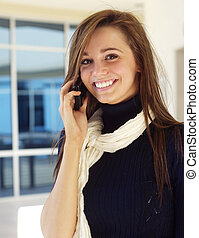 Pretty woman talking on cell phone