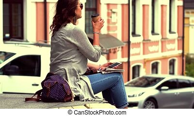 Pretty woman traveling in the european city. Girl on...
