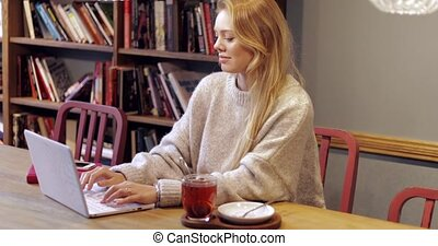 Pretty woman using laptop in library - Pretty young woman in...