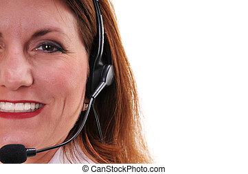 Pretty woman wearing headset - Close up of a pretty woman ...