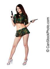 Pretty woman with a gun