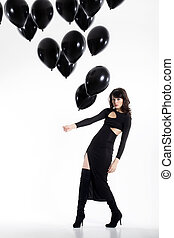 pretty woman with balloons