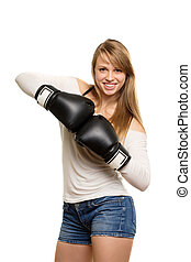 Pretty woman with boxing gloves