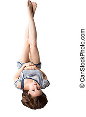 Pretty woman with  brown hair isolated on white background