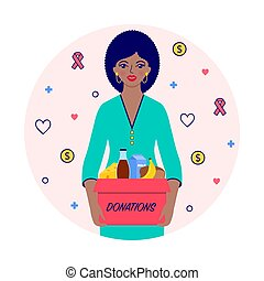 woman with donations