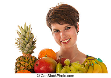 Pretty woman with fresh fruit