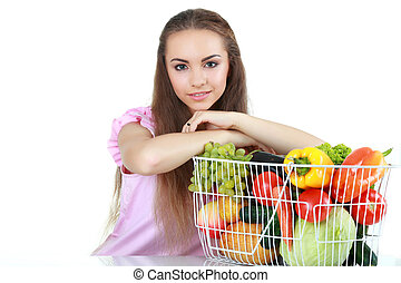 Pretty woman with fruits and vegetables