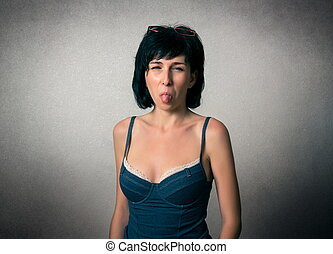 Pretty woman with funny expression