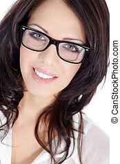 pretty woman with glasses