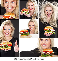 pretty woman with hamburger collage
