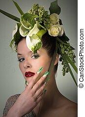 pretty woman with headdress