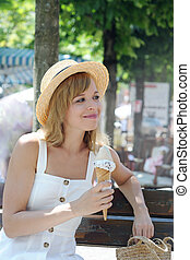 pretty woman with ice cream