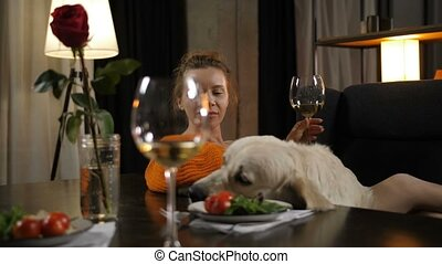 Pretty woman with labrador dog relaxing at evening -...