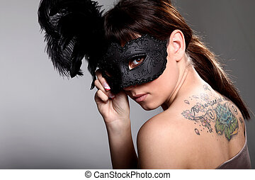 pretty woman with mask