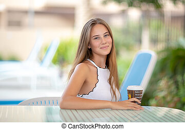Pretty woman with morning coffee
