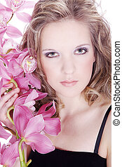 pretty woman with orchid